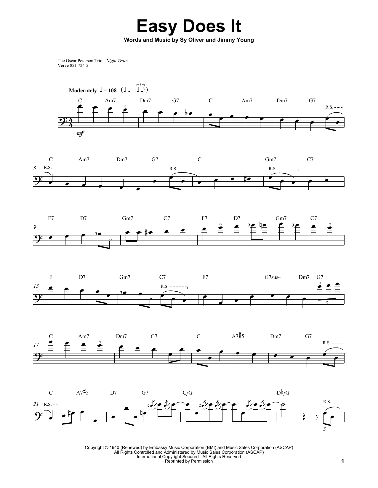 Ray Brown Easy Does It sheet music notes and chords. Download Printable PDF.