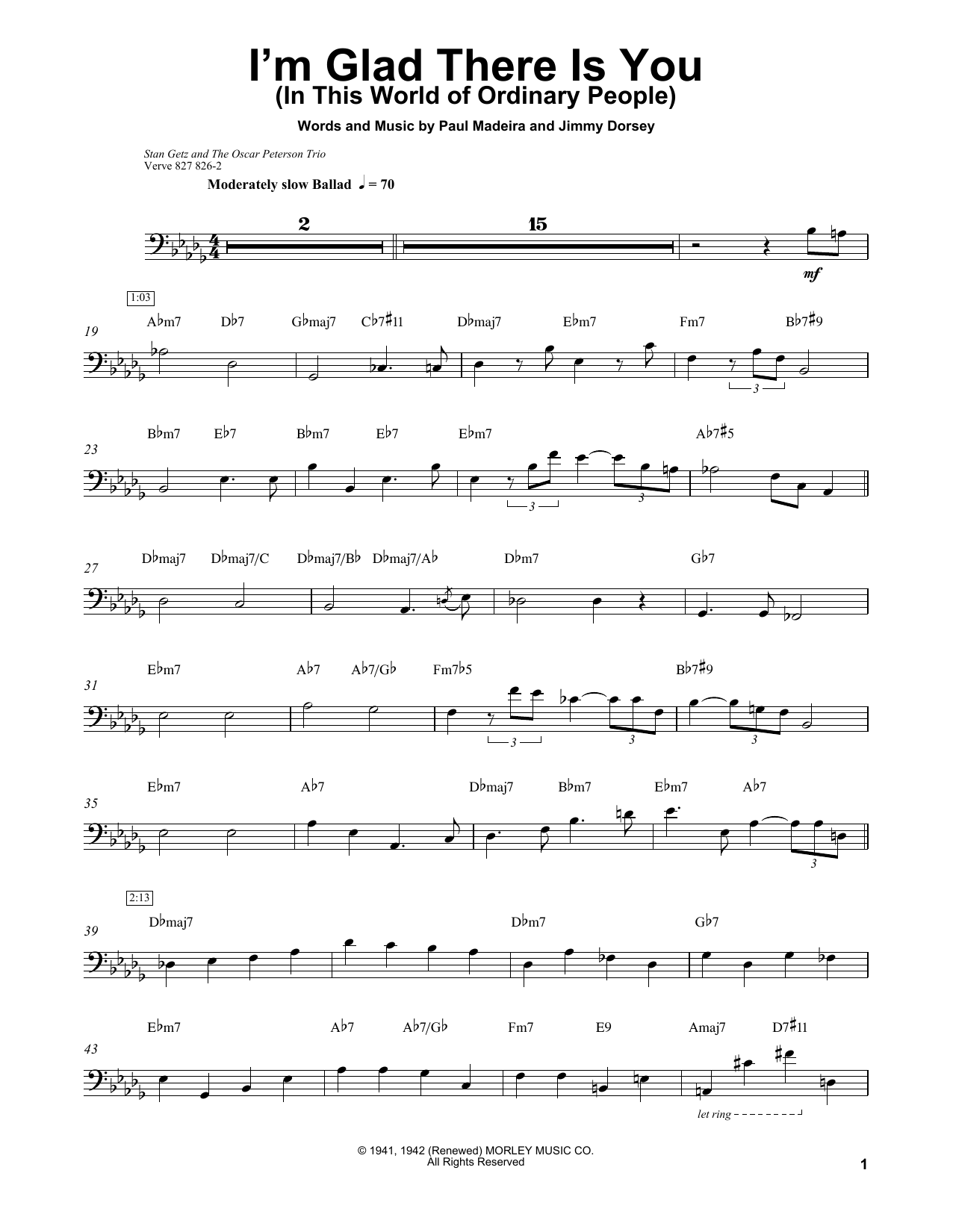 Ray Brown I'm Glad There Is You In This World Of Ordinary People Sheet  Music Notes, Chords   Download Printable Bass Transcription PDF Score    SKU ...