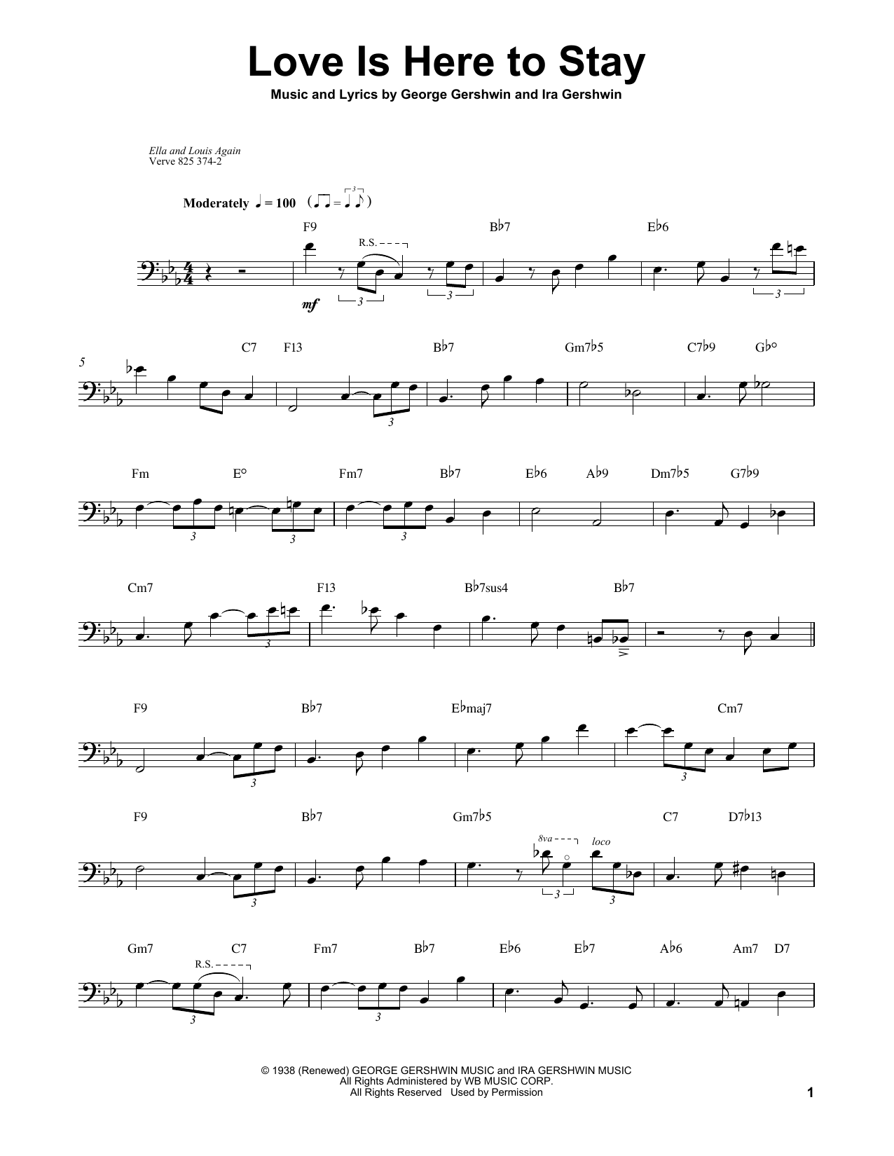 Ray Brown Love Is Here To Stay sheet music notes and chords. Download Printable PDF.