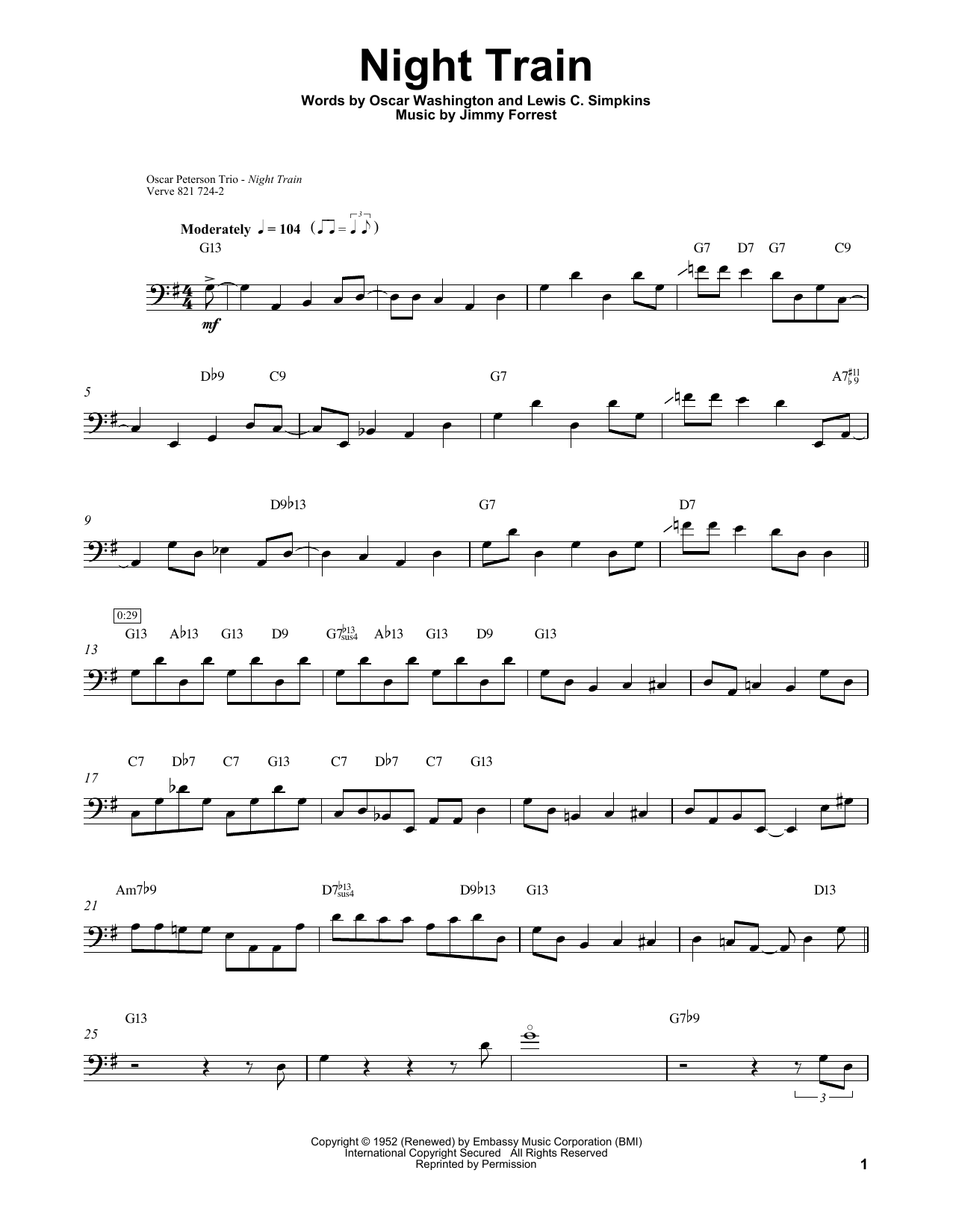 Ray Brown Night Train sheet music notes and chords. Download Printable PDF.