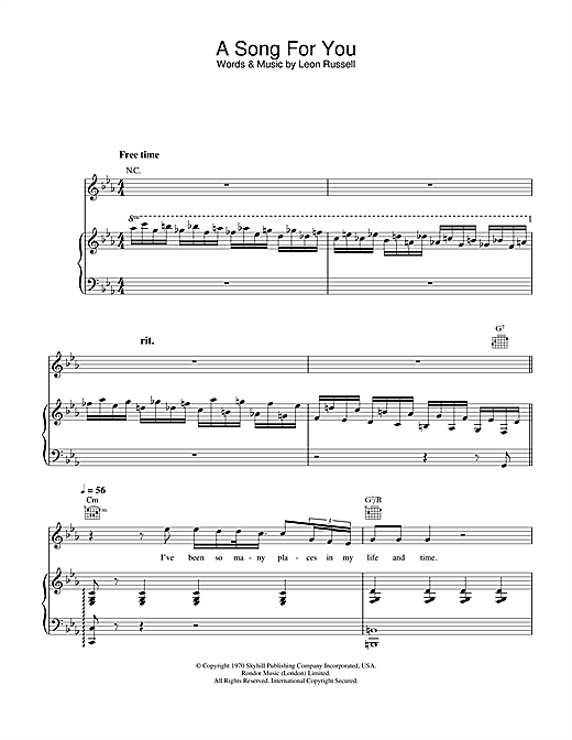 Ray Charles A Song For You sheet music notes and chords