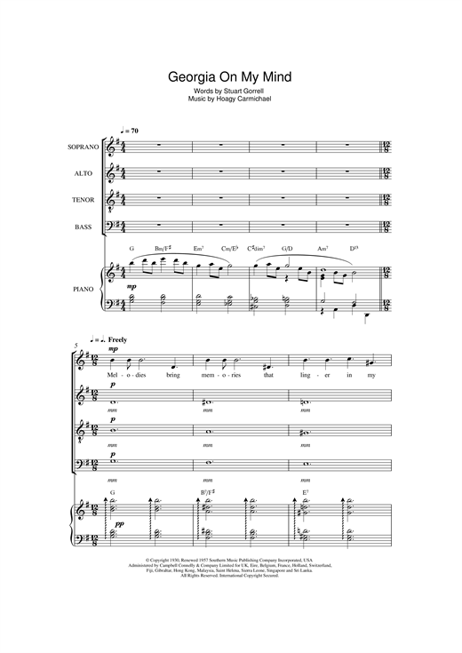 Ray Charles Georgia On My Mind (arr. Jeremy Birchall) sheet music notes and chords. Download Printable PDF.