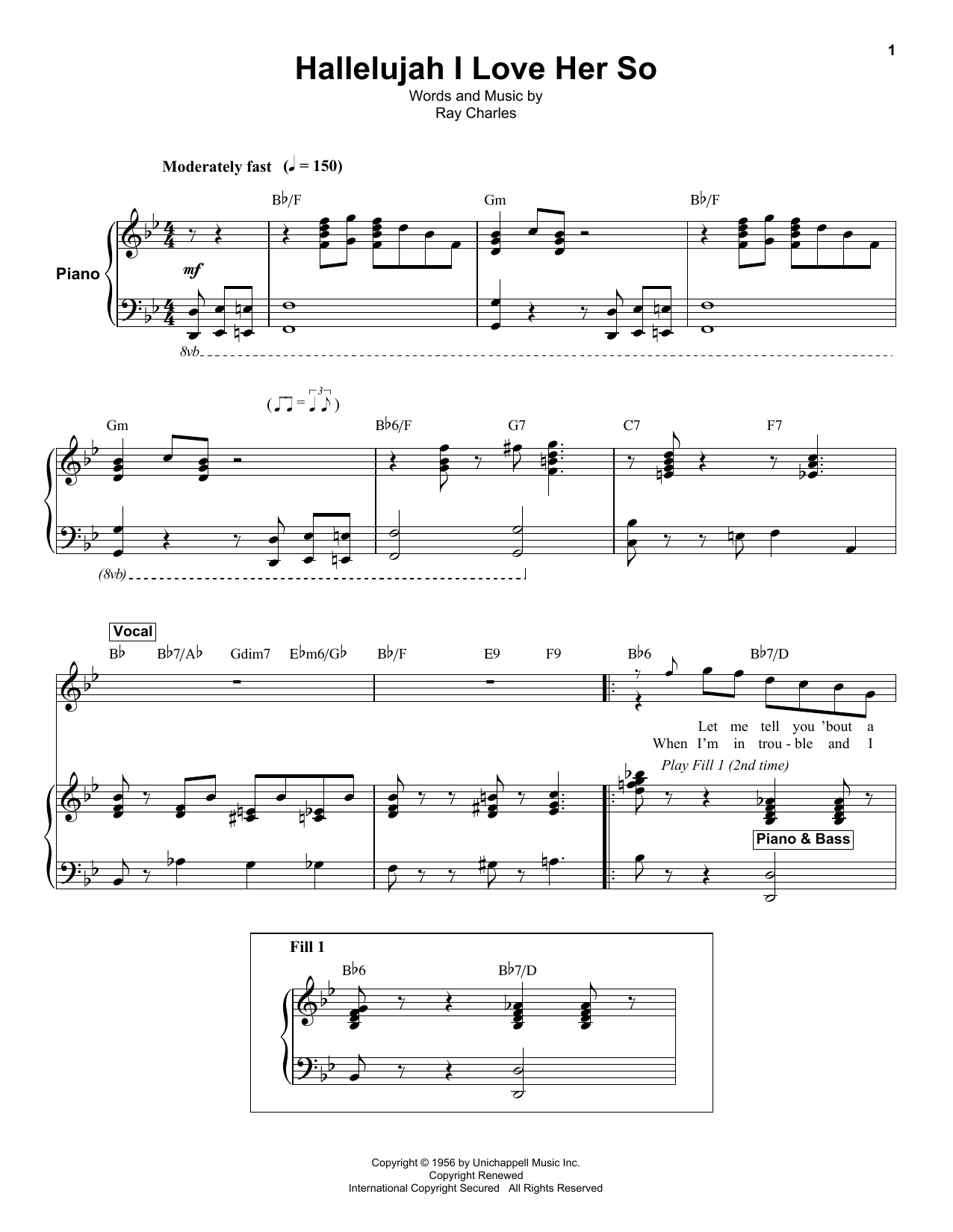Ray Charles Hallelujah, I Love Her So sheet music notes and chords. Download Printable PDF.