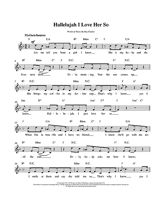 Ray Charles Hallelujah I Love Her So sheet music notes and chords. Download Printable PDF.