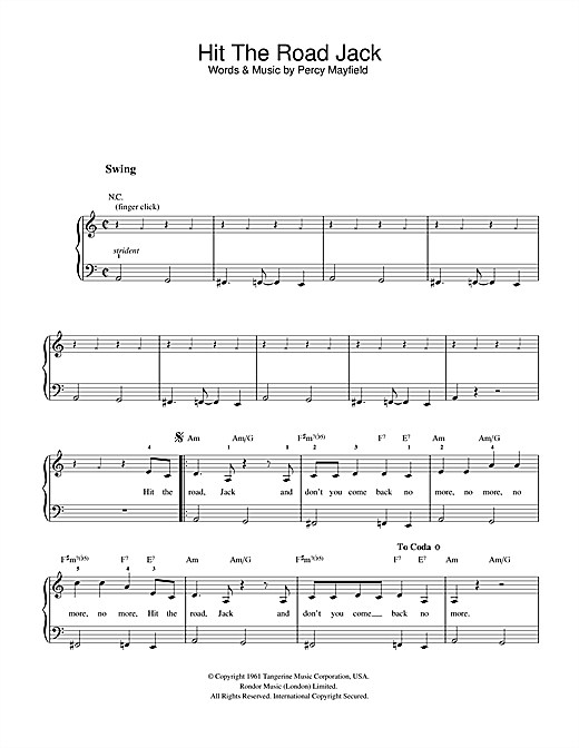 Ray Charles Hit The Road Jack sheet music notes and chords. Download Printable PDF.
