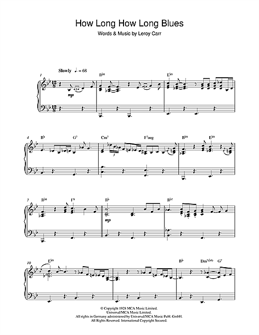 Ray Charles How Long How Long Blues sheet music notes and chords