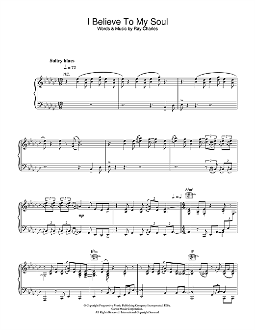 Ray Charles I Believe To My Soul sheet music notes and chords. Download Printable PDF.