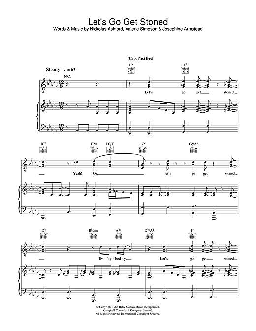 Ray Charles Let's Go Get Stoned sheet music notes and chords. Download Printable PDF.
