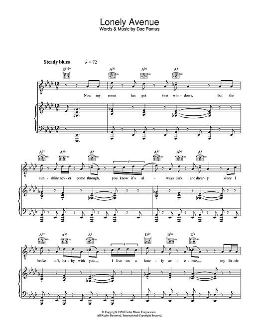 Ray Charles Lonely Avenue sheet music notes and chords. Download Printable PDF.