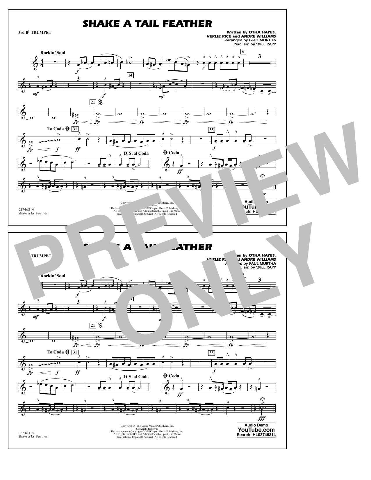 Ray Charles Shake a Tail Feather (arr. Paul Murtha) - 3rd Bb Trumpet sheet music notes and chords