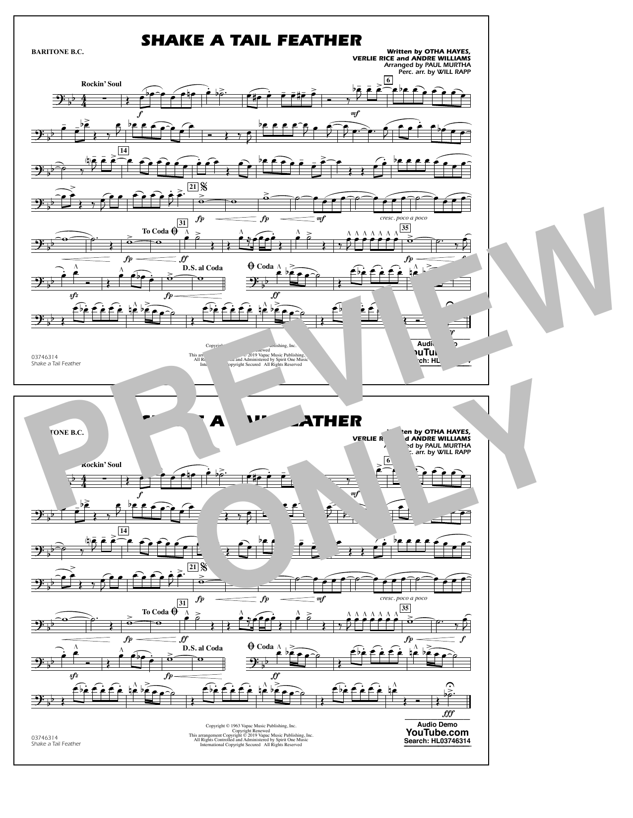 Ray Charles Shake a Tail Feather (arr. Paul Murtha) - Baritone B.C. (Opt. Tbn. 2) sheet music notes and chords. Download Printable PDF.