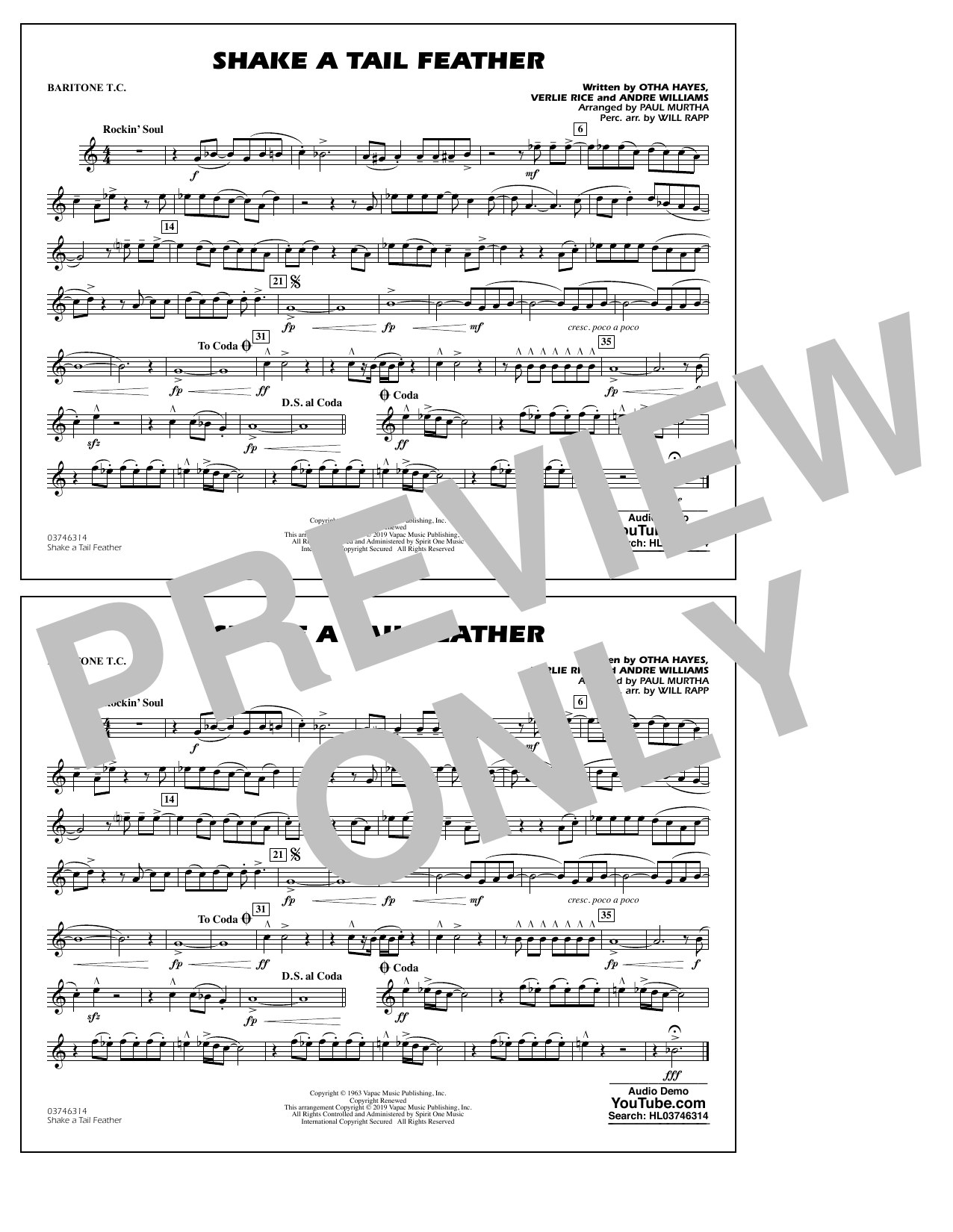Ray Charles Shake a Tail Feather (arr. Paul Murtha) - Baritone T.C. sheet music notes and chords. Download Printable PDF.