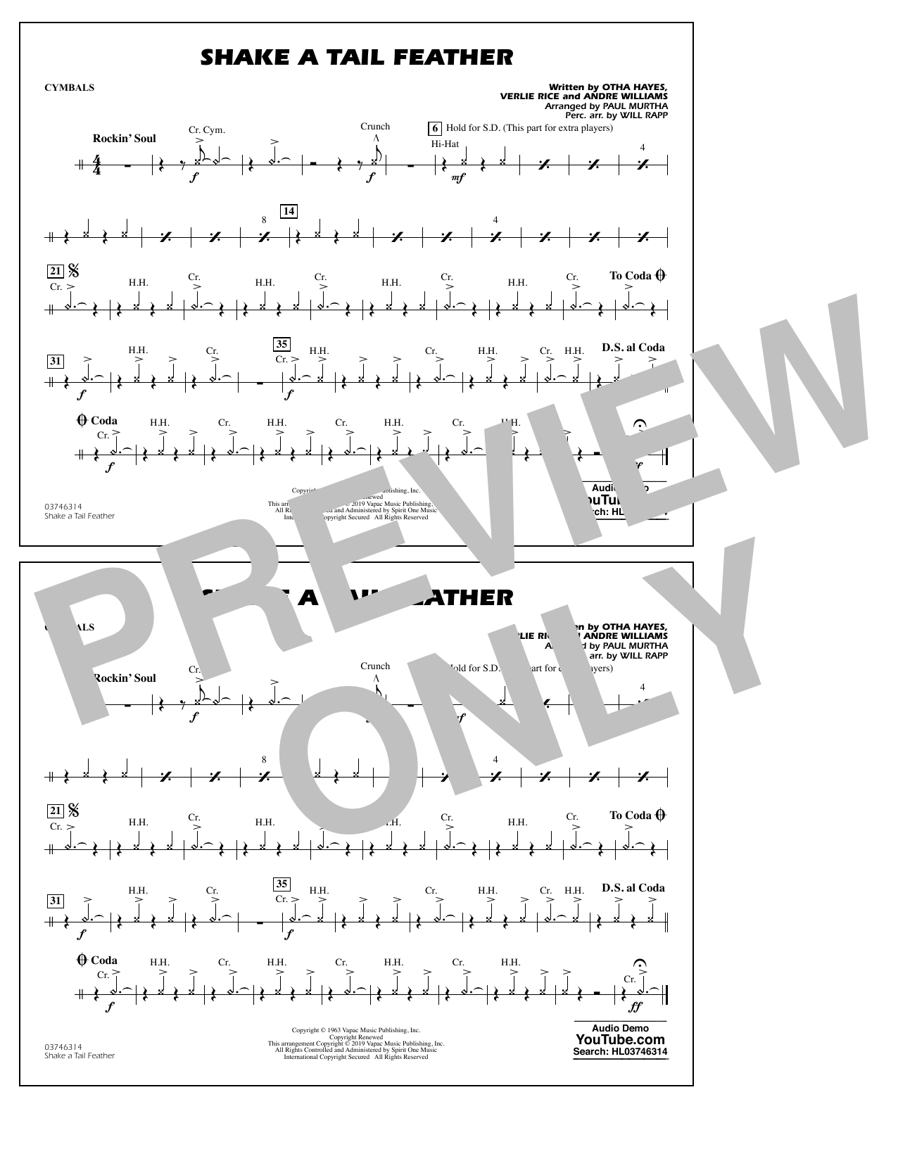 Ray Charles Shake a Tail Feather (arr. Paul Murtha) - Cymbals sheet music notes and chords