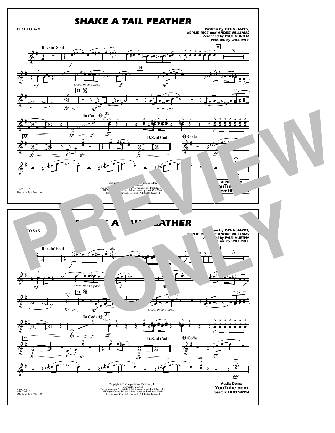Ray Charles Shake a Tail Feather (arr. Paul Murtha) - Eb Alto Sax sheet music notes and chords