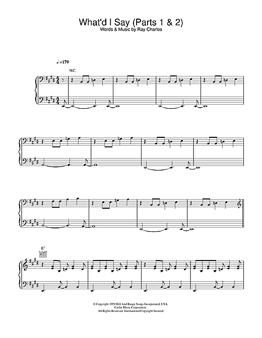 Ray Charles What'd I Say sheet music notes and chords