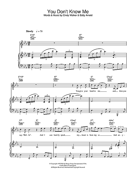 Ray Charles You Don't Know Me sheet music notes and chords. Download Printable PDF.