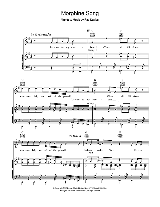 Ray Davies Morphine Song sheet music notes and chords. Download Printable PDF.