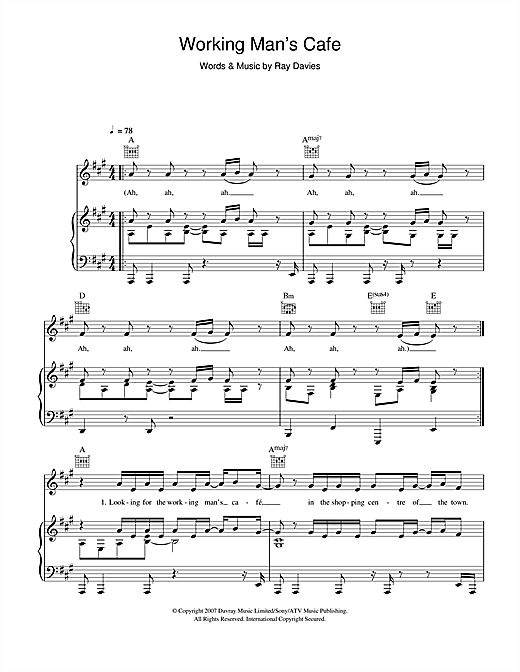 Ray Davies Working Man's Cafe sheet music notes and chords. Download Printable PDF.