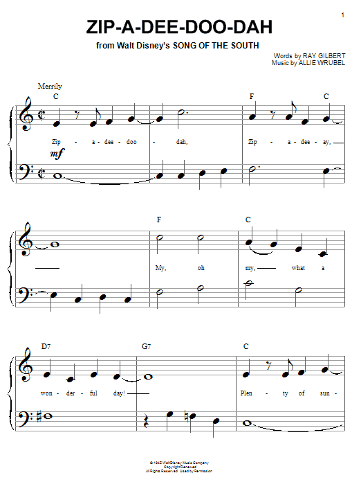 Ray Gilbert Zip-A-Dee-Doo-Dah sheet music notes and chords. Download Printable PDF.