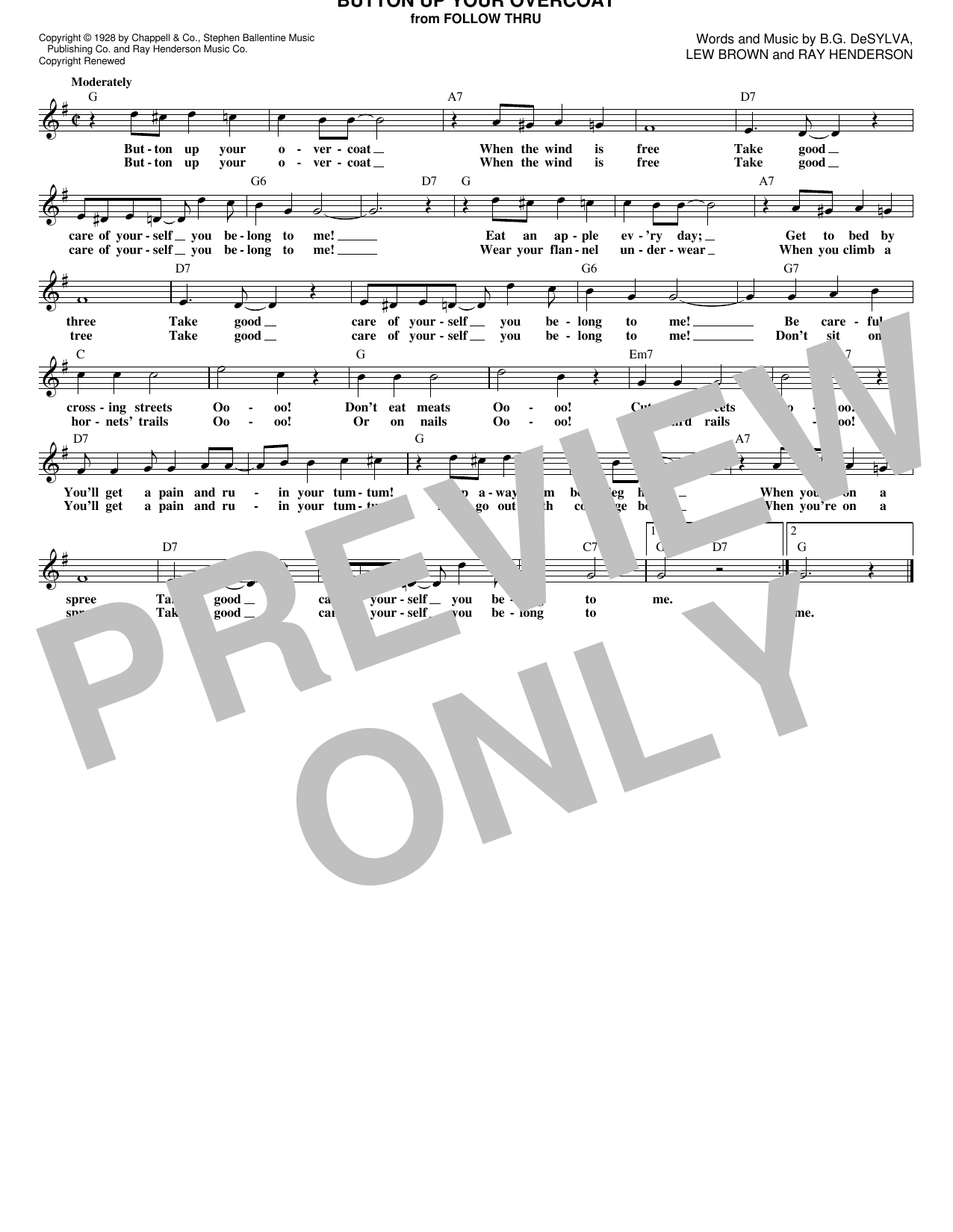 Ray Henderson Button Up Your Overcoat sheet music notes and chords. Download Printable PDF.