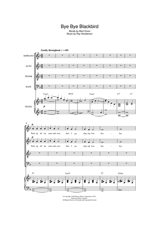 Ray Henderson Bye Bye Blackbird (arr. Jonathan Wikeley) sheet music notes and chords. Download Printable PDF.