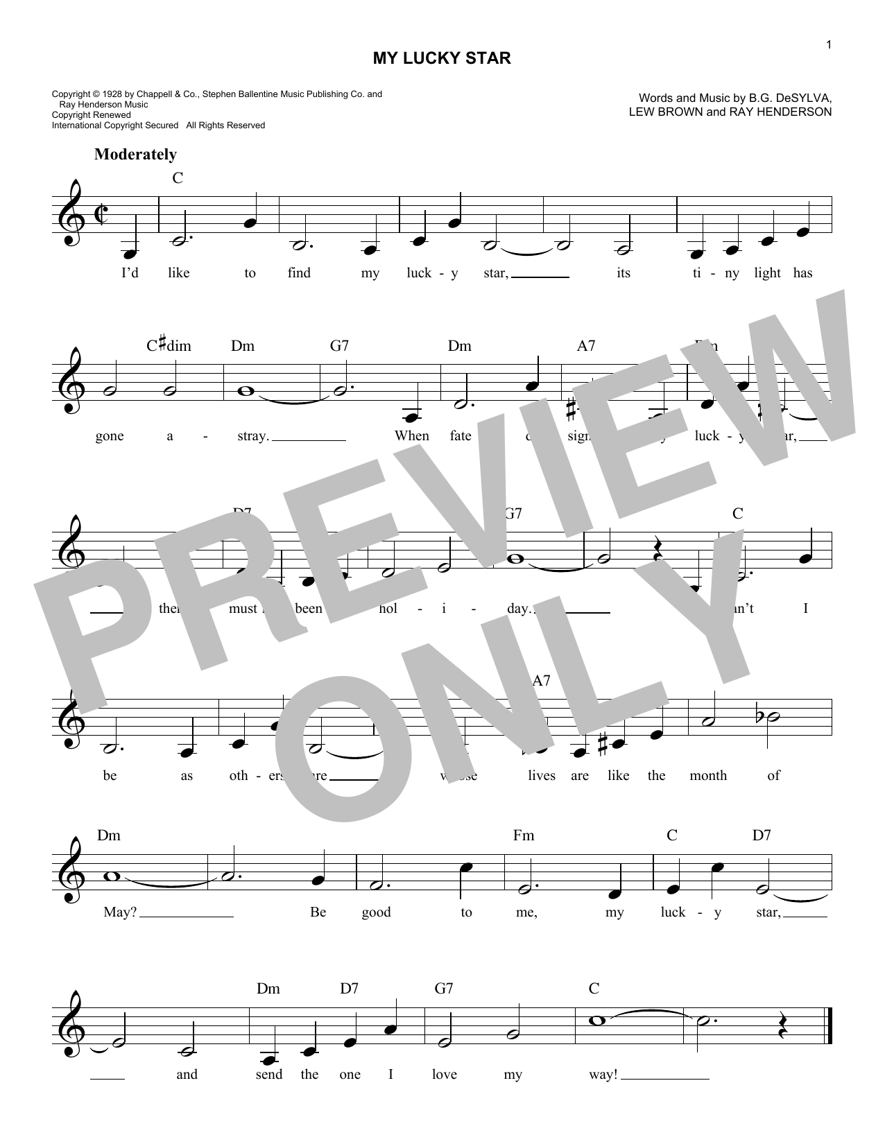 Ray Henderson My Lucky Star sheet music notes and chords. Download Printable PDF.