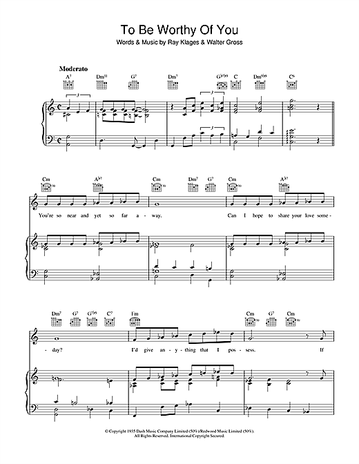 Ray Klages To Be Worthy Of You sheet music notes and chords. Download Printable PDF.