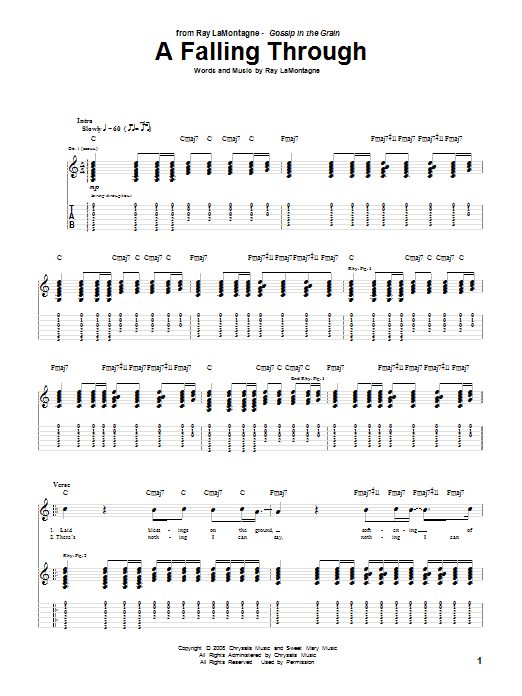 Ray LaMontagne A Falling Through sheet music notes and chords. Download Printable PDF.