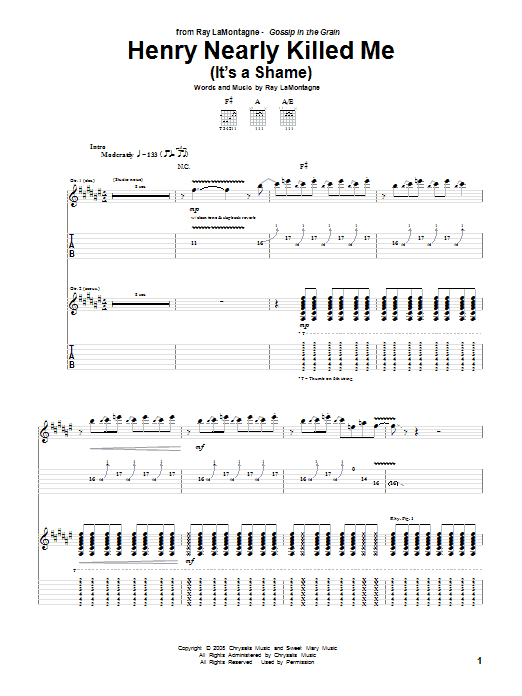 Ray LaMontagne Henry Nearly Killed Me (It's A Shame) sheet music notes and chords. Download Printable PDF.