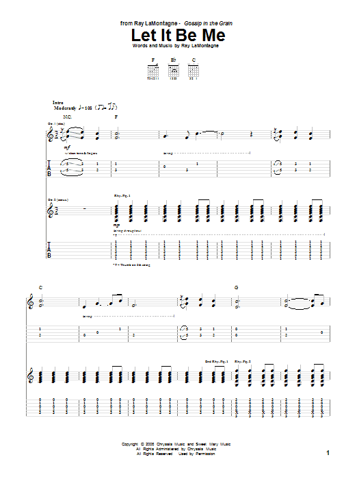 Ray LaMontagne Let It Be Me sheet music notes and chords. Download Printable PDF.