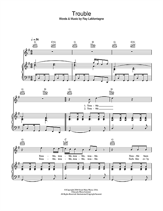 Ray LaMontagne Trouble sheet music notes and chords