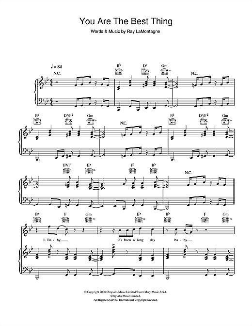 Ray LaMontagne You Are The Best Thing sheet music notes and chords. Download Printable PDF.