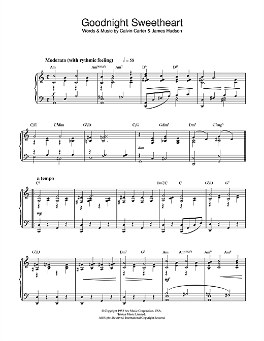 Ray Noble Goodnight Sweetheart sheet music notes and chords. Download Printable PDF.
