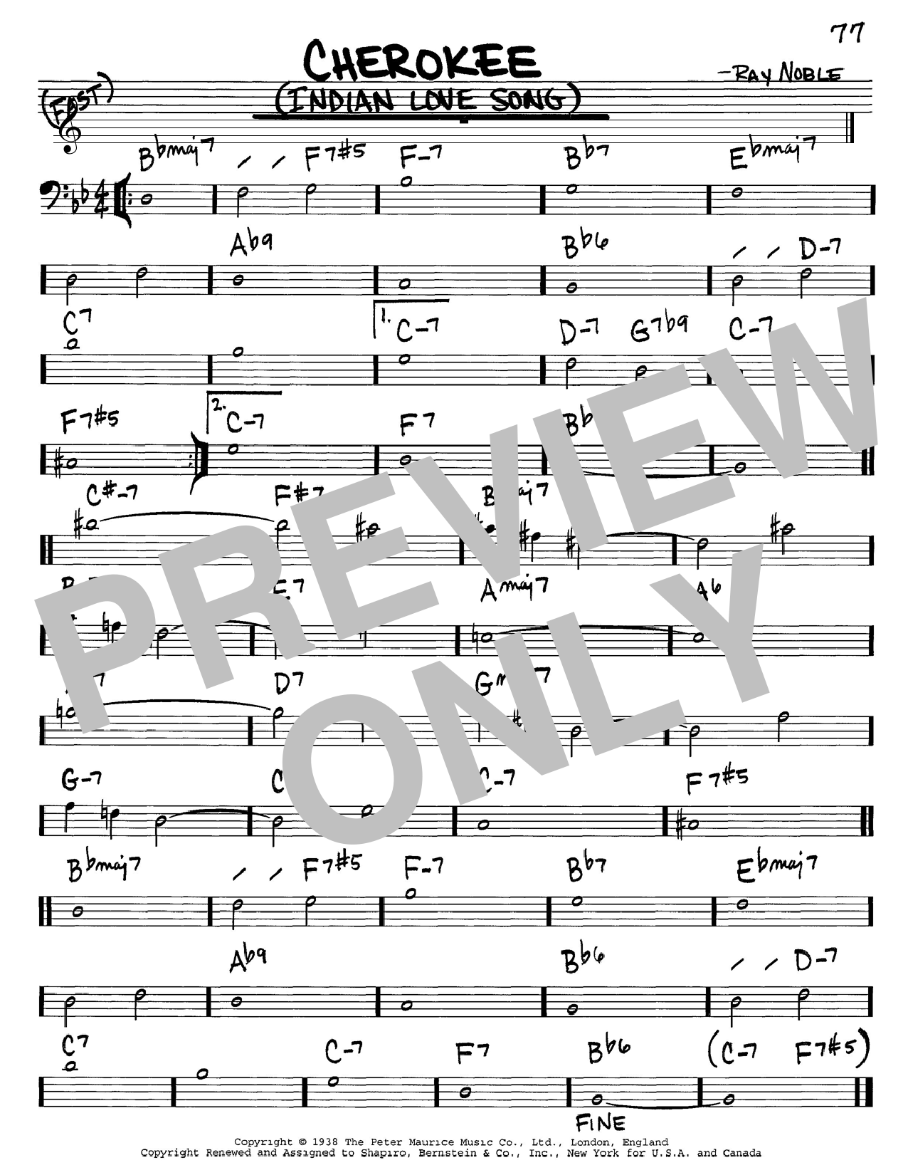 Ray Noble And His Orchestra Cherokee (Indian Love Song) sheet music notes and chords