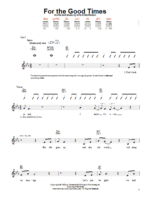 Ray Price For The Good Times sheet music notes and chords. Download Printable PDF.