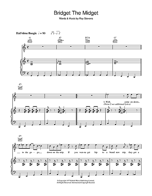 Ray Stevens Bridget The Midget sheet music notes and chords. Download Printable PDF.