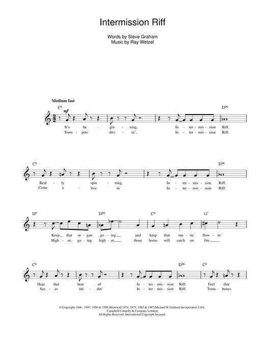 Ray Wetzel Intermission Riff sheet music notes and chords
