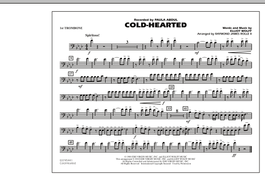Raymond James Rolle II Cold-Hearted (Featured in Drumline Live) - 1st Trombone sheet music notes and chords. Download Printable PDF.