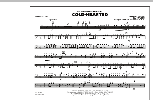 Raymond James Rolle II Cold-Hearted (Featured in Drumline Live) - Baritone B.C. sheet music notes and chords. Download Printable PDF.