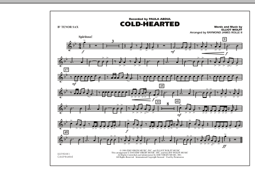 Raymond James Rolle II Cold-Hearted (Featured in Drumline Live) - Bb Tenor Sax sheet music notes and chords. Download Printable PDF.