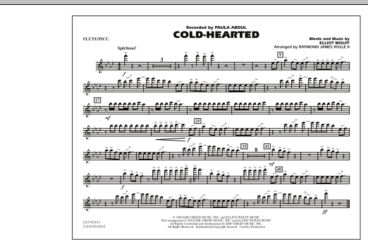 Raymond James Rolle II Cold-Hearted (Featured in Drumline Live) - Flute/Piccolo sheet music notes and chords. Download Printable PDF.