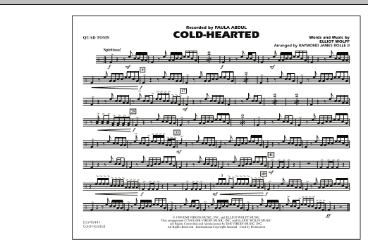 Raymond James Rolle II Cold-Hearted (Featured in Drumline Live) - Quad Toms sheet music notes and chords. Download Printable PDF.