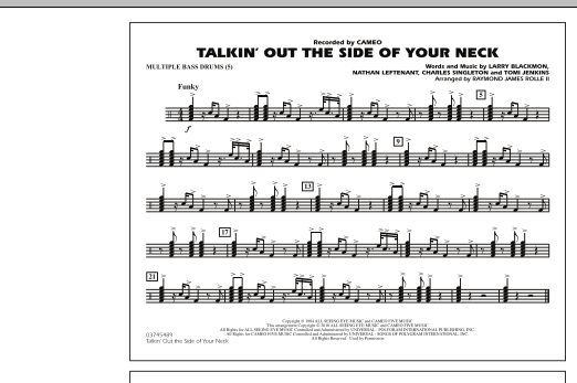 Raymond James Rolle II Talkin' Out The Side Of Your Neck - Multiple Bass Drums sheet music notes and chords. Download Printable PDF.