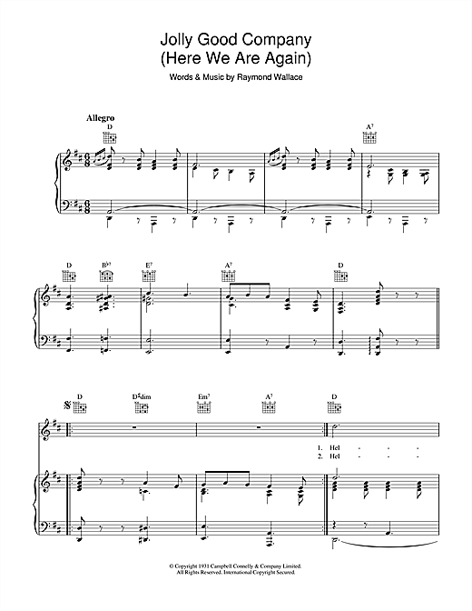 Raymond Wallace Jolly Good Company sheet music notes and chords. Download Printable PDF.