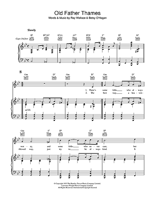 Raymond Wallace Old Father Thames (Keep Rolling Along ) sheet music notes and chords. Download Printable PDF.