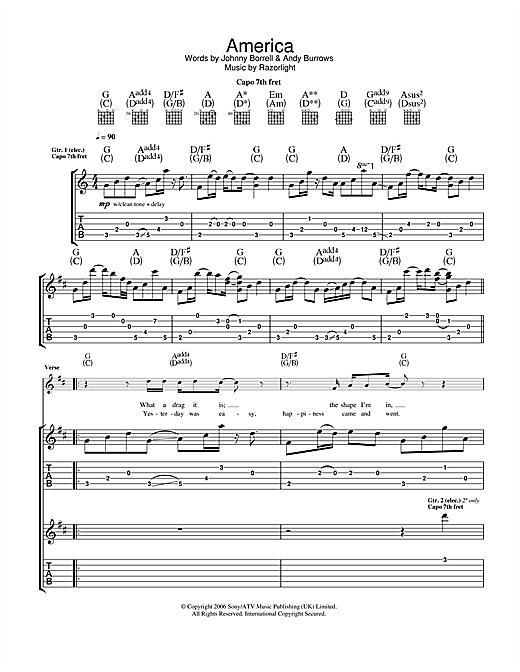 Razorlight America sheet music notes and chords. Download Printable PDF.