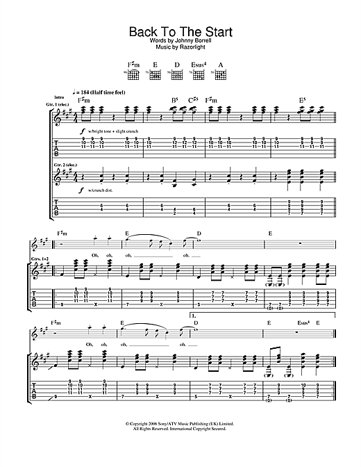 Razorlight Back To The Start sheet music notes and chords. Download Printable PDF.
