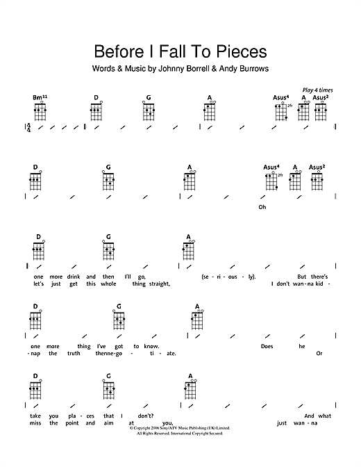 Razorlight Before I Fall To Pieces sheet music notes and chords. Download Printable PDF.
