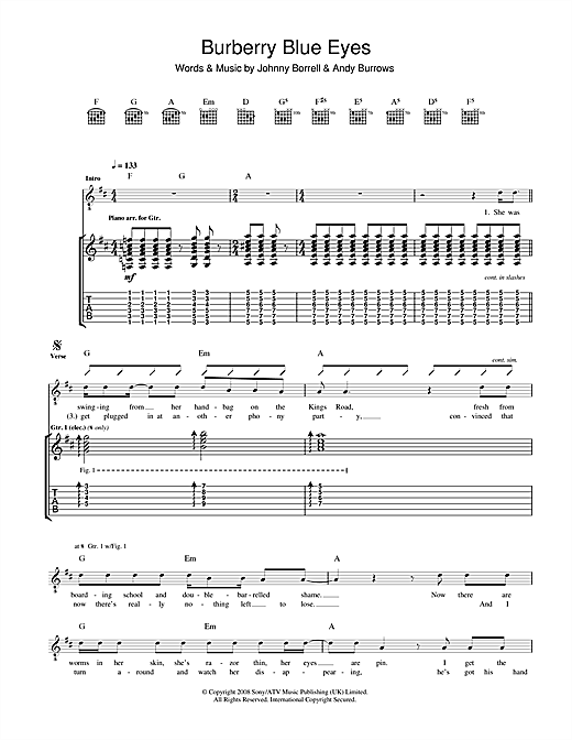 Razorlight Burberry Blue Eyes sheet music notes and chords. Download Printable PDF.