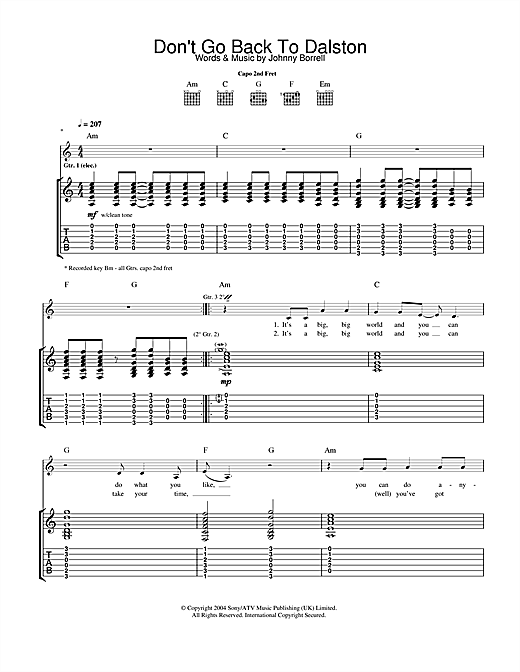 Razorlight Don't Go Back To Dalston sheet music notes and chords. Download Printable PDF.